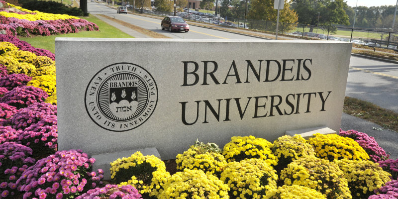 A sign marks the entrance of Brandeis University in Waltham, Mass., on Wednesday, Oct. 20, 2010. Anita Hill, a professor at Brandeis was telephoned on Oct. 9, 2010 by Virginia Thomas, wife of Supreme Court Justice Clarence Thomas, asking her to say she was sorry for the allegations that surfaced at Thomas' confirmation hearings for a seat on the court in 1991. (AP Photo/Josh Reynolds)