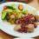 Курица в гранатовом соусе с салатом из огурца и редиса в медово-горчичной заправке